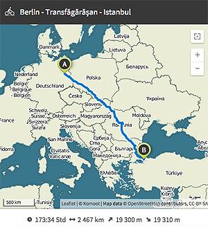 Die Strecke von Berlin nach Istanbul