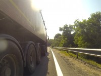 Wettrennen mit Truck in Rumänien.