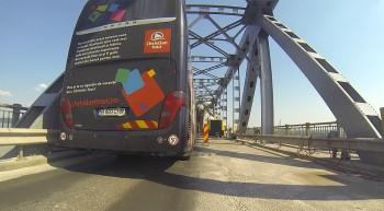 Stau auf der Donau-Brücke zwischen Rumänien und Bulgarien.